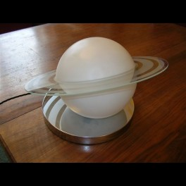 Outstanding modernist saturn ring table lamp by louis damon of paris