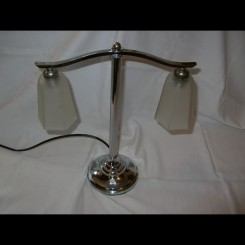 Good french chrome double shade table lamp