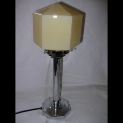 Nice english art deco table lamp with hexagonal yellow shade
