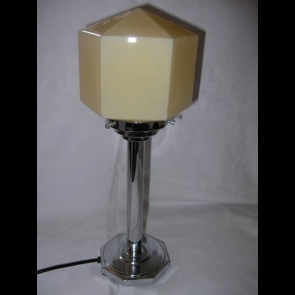 nice english art deco table lamp with hexagonal yellow shade deco dave. Black Bedroom Furniture Sets. Home Design Ideas