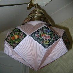 English early deco enamelled cone shade with original fixture