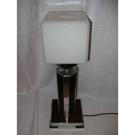 Aluminium & wood Modernist table lamp with white cube shade