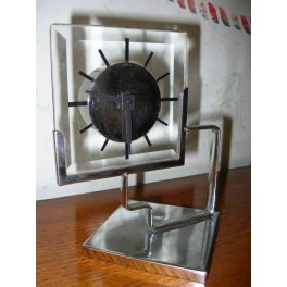 Modernist chrome & glass clock ( restored )