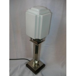 Jacques Adnet nickle/macassar wood table lamp with white stepped shade