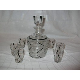 EXCELLENT (7) PIECE CZECH DECANTER SET BY KAREL PALDA