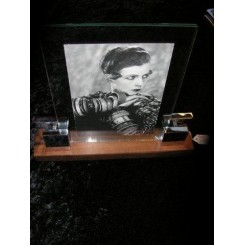 Large Modernist macassar wood & chrome photo frame