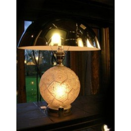 Genet et Michon glass ball table lamp with chrome hemispherical shade