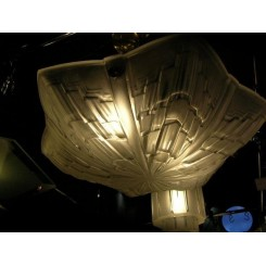 Superb clear & frosted star shaped ceiling light by Jean Noverdy