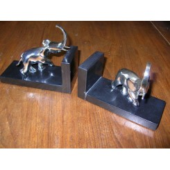 Superb Art Deco chromed bronze/black marble elephant bookends