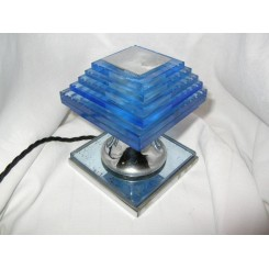 Outstanding & very rare Modernist table lamp by Clement Nauny (DESNY) in chrome & blue glass