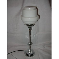 Art Deco English chrome stepped base table lamp with white shade