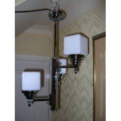 Chrome (height adjustable) Hexagonal section stepped arm Modernist fixture with white cube shades