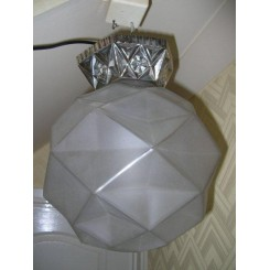 ( SOLD ) Superb & large clear & frosted globe shade by Degue