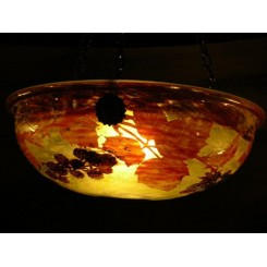 (SOLD) Superb cameo glass bowl ceiling light by Daum Frere of Nancy