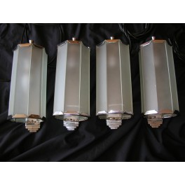 Outstanding Rare set of 4 English Art Deco Hexagonal Glass Wall Lights