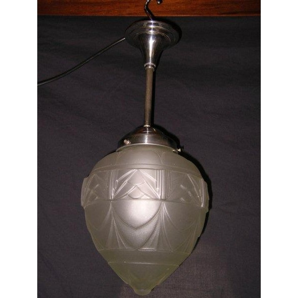 French Art Deco Acorn Shaped Frosted Glass Ceiling Fixture