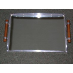 Art Deco aluminium and mirrored glass tray