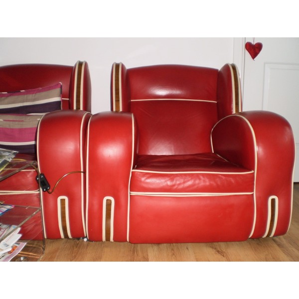 Red Leather Art Deco Suite Sofa Amp 2 Chairs Deco Dave