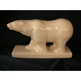 Cubist Craquele Polar Bear in cream glaze by ODYV