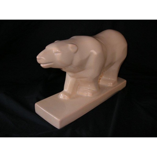 Cubist Craquele Polar Bear In Cream Glaze By Odyv Deco Dave