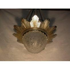 Important French nickled bronze geometric fixture with glass by Gilles