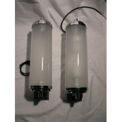 Superb large chrome wall lights with frosted tube shades