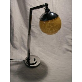 Chrome Hexagonal Shafeted Telescopic Table Lamp With Yellow Shade