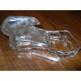 Good Cubist pair of signed Czech glass Polar bears on ice flow