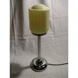 American Art Deco chrome table lamp with custard yellow shade