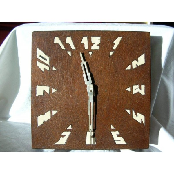 Art Deco French Wood Wall Clock (30 Hour Movement) ...