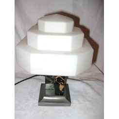 French marble & metal table lamp with stepped shade