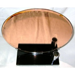 Art Deco Table mirror with chrome fittings on vitrioliet black base