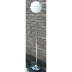 Modernist French chrome uplighter with globe shade by Degue