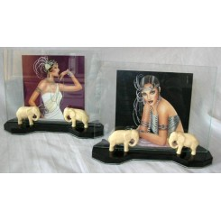 Pair of Art Deco Elephant Photo Frames