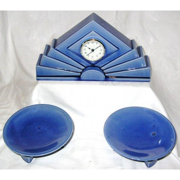 Art Deco Pottery Clock Garniture Set By St Clement Deco Dave