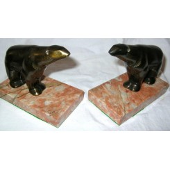 Spelter French Art Deco Polar Bear Bookends On Veined Marble Bases