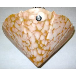 English Marbled Orange Glass Conical Shade With Chain Supports