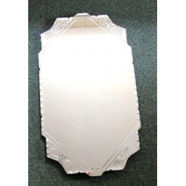 English Art Deco mirror with unusual etched and cut design