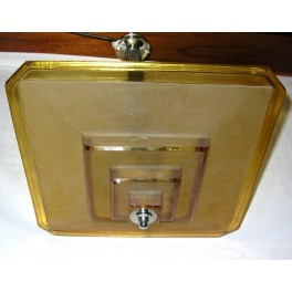 (SOLD ) Excellent Cubist stepped square yellow fixture by David Gueron Degue