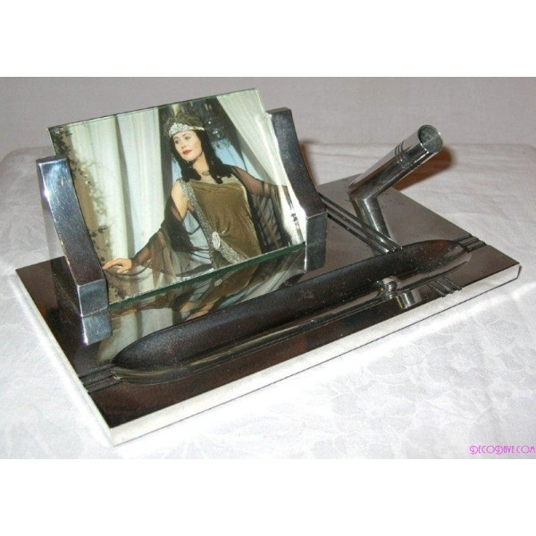 Good Art Deco Chrome Desk Tidy With Photo Frame And Pen Holder Dave