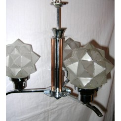 Modernist 3 Branch Chrome And Brass Ceiling Fixture