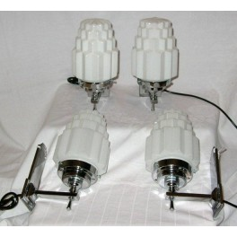 Set Of 4 French Art Deco Tapered Glass Wall Lights With White Stepped Cog Design Shades