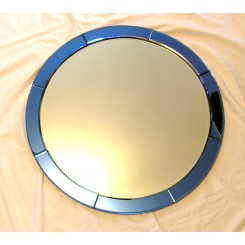 Round Art Deco Blue and Clear mirror