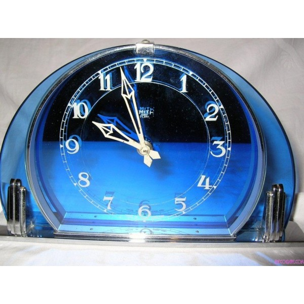 Art Deco Smiths Selectric Blue Glass Mantel Or Table Clock