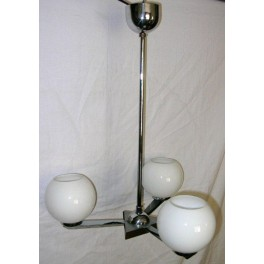 Unusual German Modernist 3 arm fixture with open white globe shades