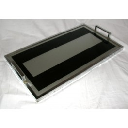 Rare English Modernist oblong glass and chrome tray