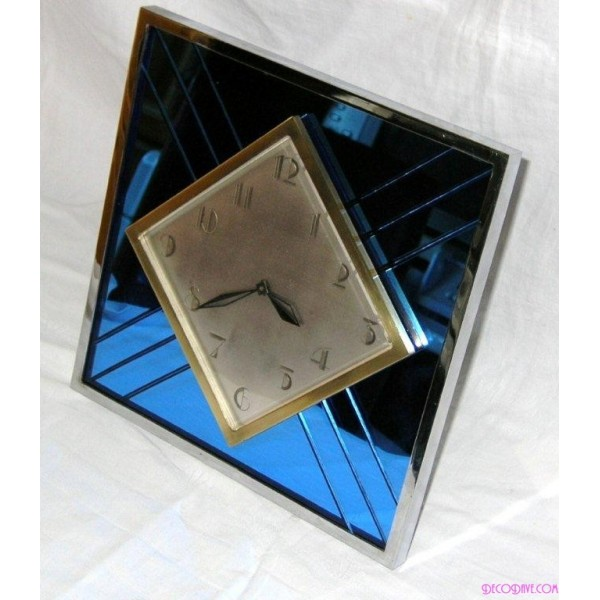 English Art Deco Blue Mirror And Chrome Table Clock With