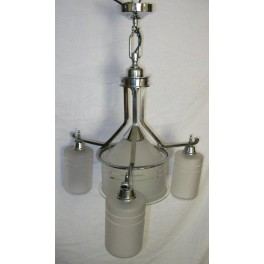 Modernist 3 arm tube fixture with large tube centre light