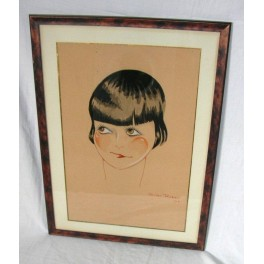 Italian Art Deco water Colour Portrait of a Flapper Girl by Guido Rossi