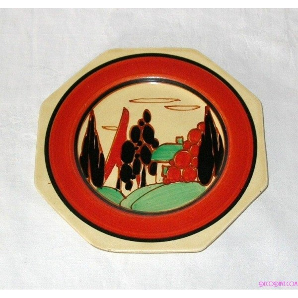 Clarice Cliff Plate In The Tree And House Pattern - Deco Dave